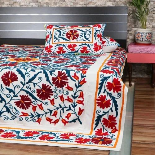 hand embroidery bed cover