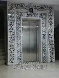 Natural Stone Gloss Marble Inlay Wall, For Outdoor