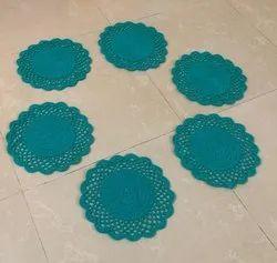 Acrylic yarn Round Crochet Dining Table Mats, Size: 12 Inch