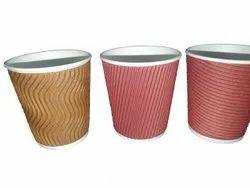 Striped 200 ml Disposable Paper Glasses, 45 Micron