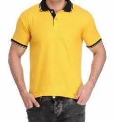Half Sleeve Men Plain Yellow Cotton T Shirt