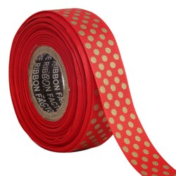 Polka Dots Red/Gold Ribbons 25mm/1''inch Gross Grain Ribbon 20mtr Length