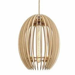 Oval Wooden Hanging Lamp, For Decoration