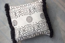 Hand Block Printed Mud Cloth Tufted Cushion Cover.