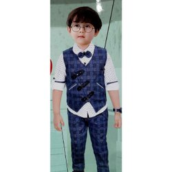 Blue,White Boy 3 Piece Suit Set