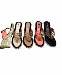 Multicolor Party Wear Ladies Designer Wedge Heel Sandal