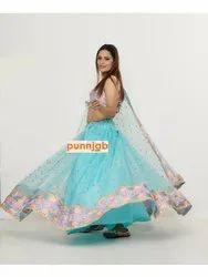 Satin Silk Premium Fabric Ethnic Wear Wedding Phulkari Dress, Above 18 Year