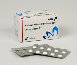 Acarbose IP 25 MG Metformin Hcl 500 MG, JOHNLEE, 10x10 Tabs (alu-alu)