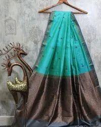 Party wear Turquoise Katan Silk Banarasi Handwoven Saree