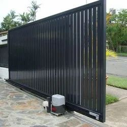 Black Stainless Steel Automatic Sliding Gate, For Residential