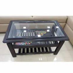 Vishwarkma Woods 33 X 21 Inch Rectangular Glass Wood Center Table