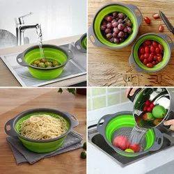 Kitchen Sink Colander Drainer Foldable Silicone Drain Basket for Vegetable, Fruit