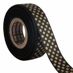 Polka Dots Black Ribbons25mm/1''inch Gross Grain Ribbon 20mtr Length