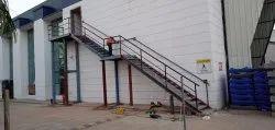 Mild Steel Industrial Metal Staircase, For Office