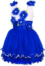 Net Party Wear Girls Blue Floral Frock, Age Group: Upto 12 Years