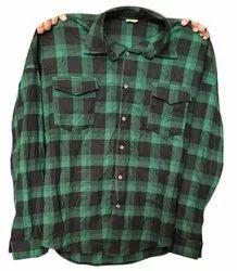 Casual Wear Men Green Cotton Check Shirt