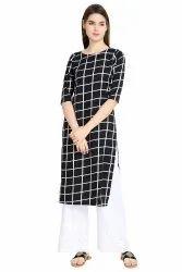 Women Checkered Crepe Straight Kurta(Black)