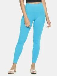 Straight Fit Plain Ladies Cotton Lycra Leggings, Size: Free Size