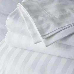 300tc Satin Stripe Fabric White bed sheets, GSM: 100-150 GSM