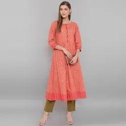 Janasya Women's Peach Cotton Kurta (JNE3562)