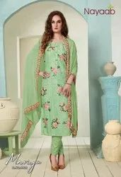 Nayaab Green Masline Embroidered Suit