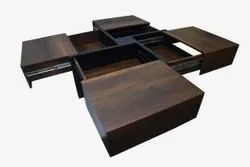 Wooden Center/ Coffee Table With 4 Shelves