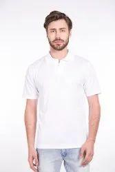 Plain Polyester Mens White Collar T Shirt