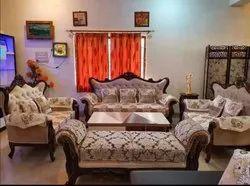 Wooden Fabric Teak Wood Living Room Sofa Set, Cushion Back
