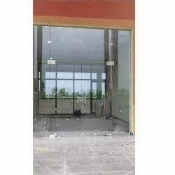 Swing Plain Toughened Glass Push And Pull Door, For Office