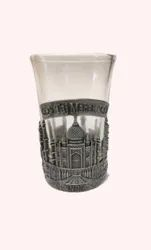 Transparent Glass, Metal Frosted Shot Glass, For Drink, Size: 3 Inch