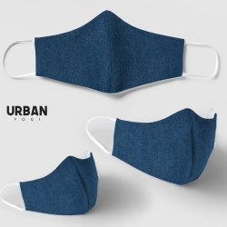 Denim Face Mask Blue Jersey Face Protect Anti Dust Fashion Reusable Washable Elastic Earloop