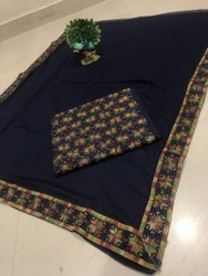 Unstitched Blue Phulkari Kanchan Cotton Printed Suit, Handwash