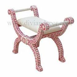 Handmade Bone Inlay Roman Chair