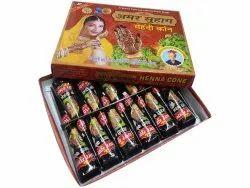 Dark Red Black Amar Suhag Mehandi Paste Cone, For Festival, Packaging Type: Box