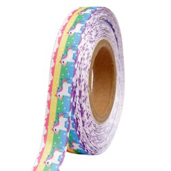 Unicorn Rainbow Character 25mm/1'' Inch Grosgrain Ribbon