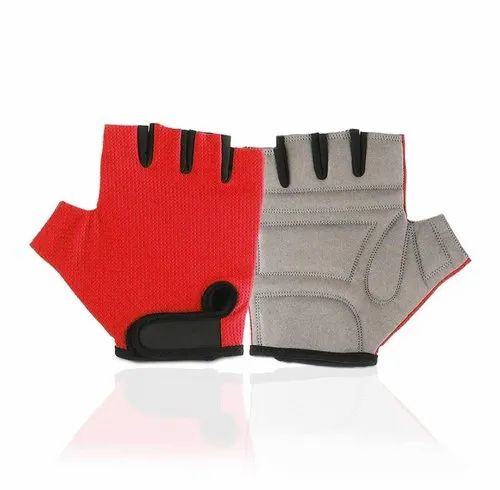 Red Or Grey Lycra Gym Gloves, Free