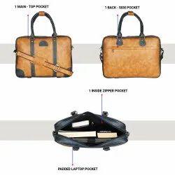 Pu Leather Laptop Bag 15.6 Inch. Office Bags. Shoulder Water Resistant Bag, Color: Tan