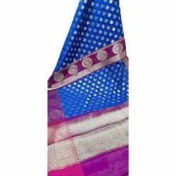Party Wear Printed, Border Cotton Gola Border Silk Saree, 6 m (with blouse piece)