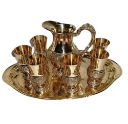 Gold Brass Jug And Glass Set, Size: 14 Inch