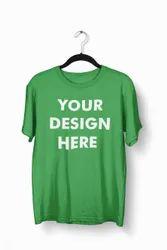 Cotton Green Round Neck T Shirt, Size: Medium