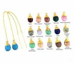Gemstone Faceted Gold Vermeil Threader Earrings, Threader Teardrop Earrings