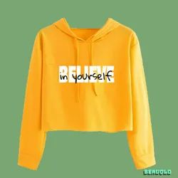 Yellow Cotton Cropped Hoodies