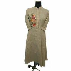 Casual Wear Ladies Full Sleeves Cotton Kurti, Size: XL, Wash Care: Machine wash