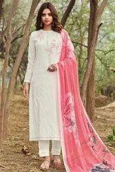 Formal Wear White Embroidered Salwar Kameez