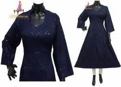 Cotton 3/4th Sleeve Designer Phulkari Anarkali Kurti, Wash Care: Dry clean