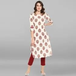 Janasya Women's White Pure Cotton Kurta (JNE3440)