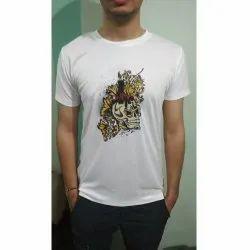 Half Sleeves White Men Printed T Shirt