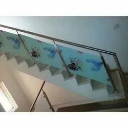 Stairs Stainless Steel Printed Glass Railing, For Home, Material Grade: SS202