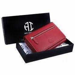 Red Plain Ladies Designer Leather Wallet, Size: 16cm X 11cm