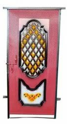 Paint Coated Pink Colored Decorative Iron Door, For Home, Single